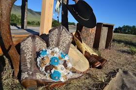 Turquoise burlap bridal bouquet by Gypsy Farm Girl