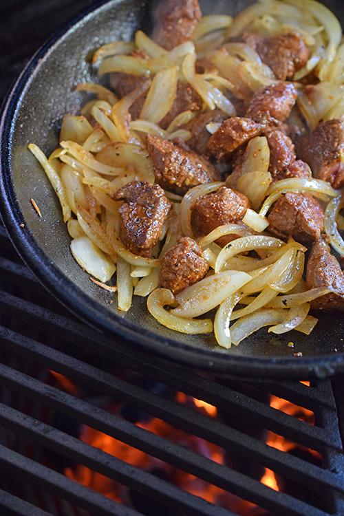 Beef tenderloin tips and golden sauteed onions