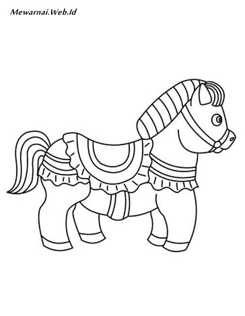 Gambar Mewarnai Kuda Poni Dunia Mewarnai
