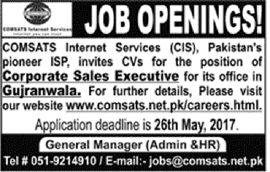 Sales Executive Jobs In Comsats Internet Services 20 May 2017