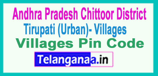 Chittoor District Tirupati (Urban) Mandal and Villages Pin Codes in Andhra Pradesh State