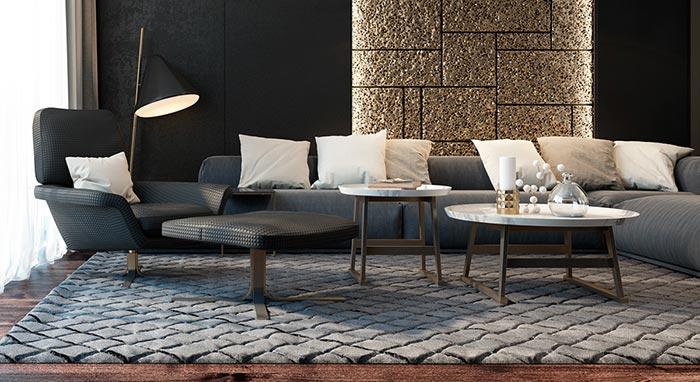 siyah ton oturma odası tasarımı