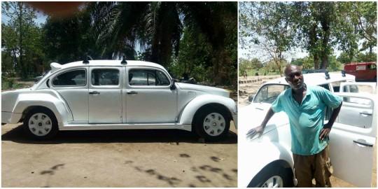 Nigerian man gives a Volkswagen Beetle car a Rolls-Royce look (photos)
