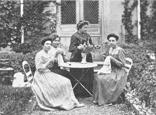 Vintage photo. Edwardian era ladies sit in the garden engaged in needlework. Parenting, A Word to Women by Mrs. C. E. Humphry, 1898. marchmatron.com