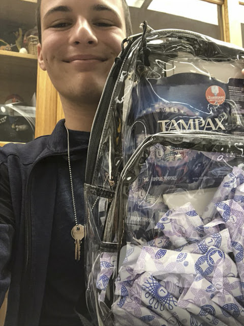 Clear backpacks at Parkland Florida. Cameron Kasky #NeverAgain photo of his clear backpack with Tampons