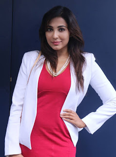 Parvathy Nair in White Jacket and Red Short Dress Meaty Thighs