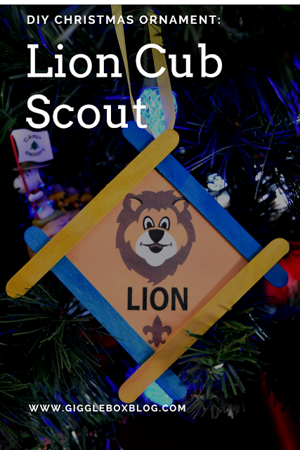 DIY Christmas ornament, Lion Cub Scout, Lion Cub Scout Christmas ornament, simple Christmas ornament craft for a Lion Cub Scout den meeting, Cub Scouts,