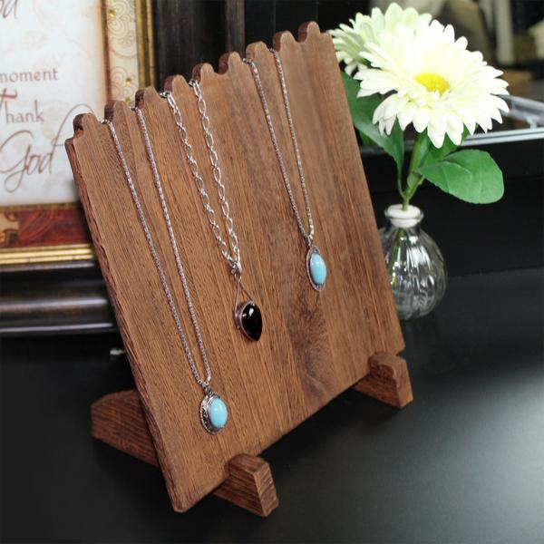 Display as many as nine necklaces using the Wooden Plank Necklace Jewelry Display Stand | NileCorp.com