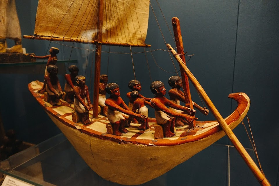 Painted wooden model of a boat