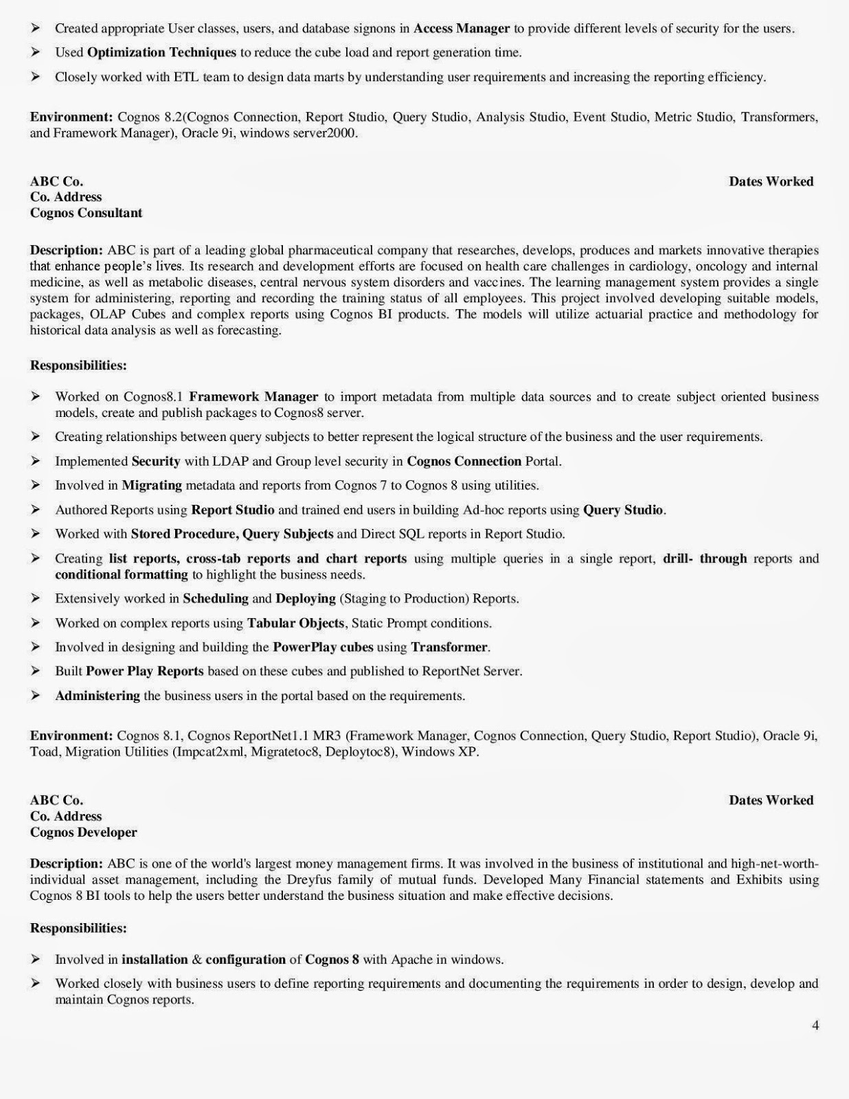 php developer resume sample business objects reports developer