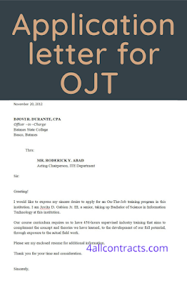 simple application letter for ojt students, application letter for ojt template,