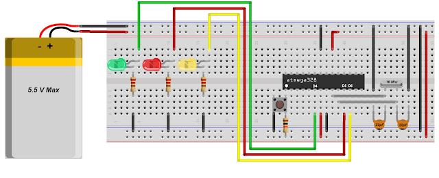 Arduino na protoboard - Sequencial