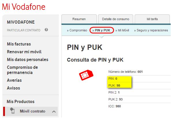 Consultar PIN y PUK en Mi Vodafone