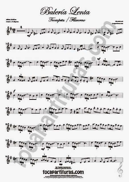 Bulería Lenta Partitura de Trompeta y Fliscorno Sheet Music for Trumpet and Flugelhorn Music Scores Flamenco