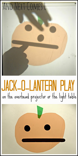 Jack-o-lantern play on the overhead projector or the light table from And Next Comes L