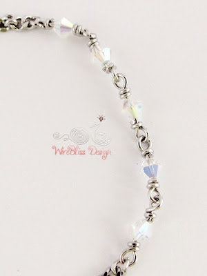 Wire Wrapped Minlet (Minima Bracelet) with 4mm Swarovski Crystal