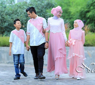 Desain baju muslim sarimbit kombinasi