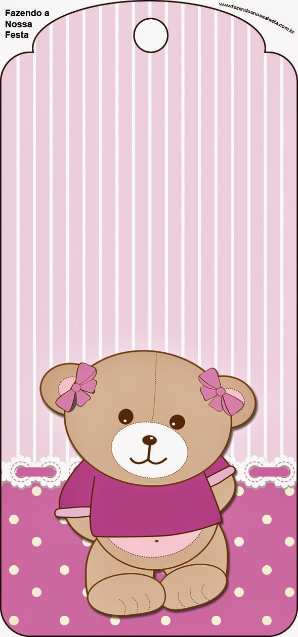 Cute Girl Bear in Lilac Free Printable Tags.