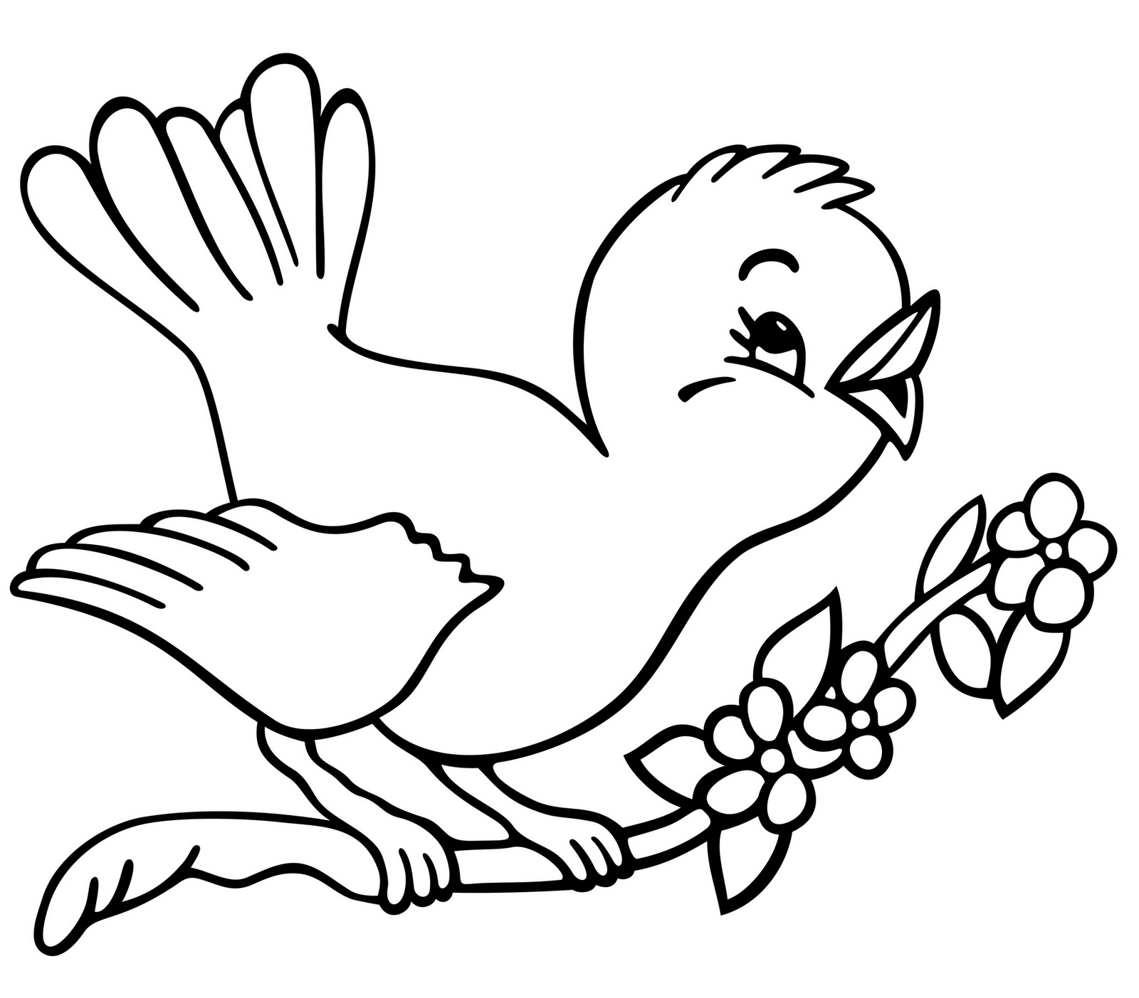 coloring pages of birds flying - simple bird free animal coloring sheet for kids
