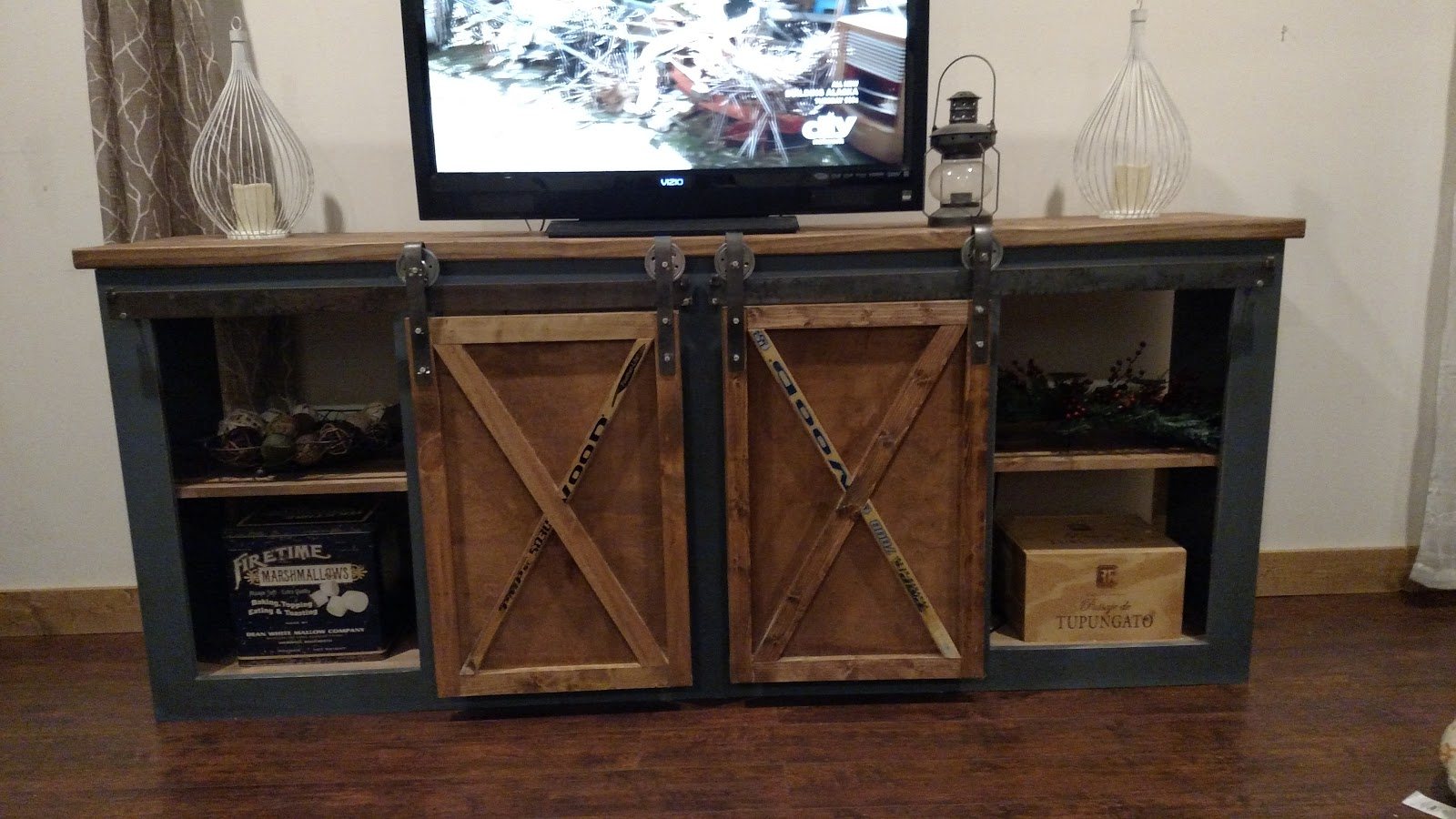 Farmhouse Corner Tv Stand Plans Ana White Grandy Sliding Door Console Diy Projects