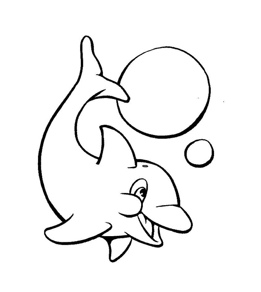 Tranh tô màu cá heo và bong bóng