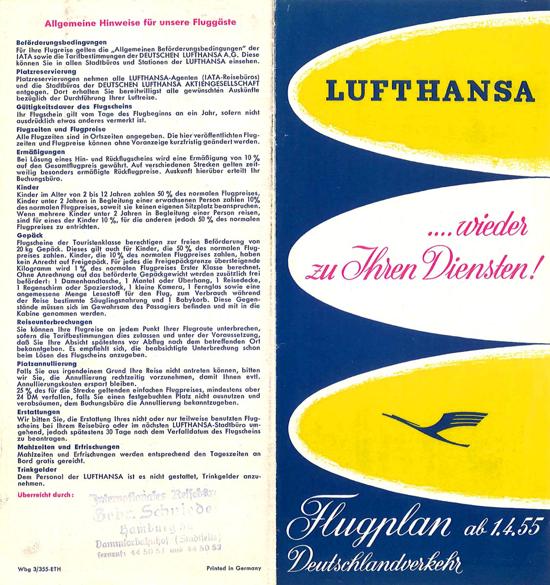 Lufthansa timetable 1955 - front
