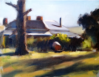 Oil painting of a Victorian-era house, trees, and water cart, illuminated by afternoon sunlight.