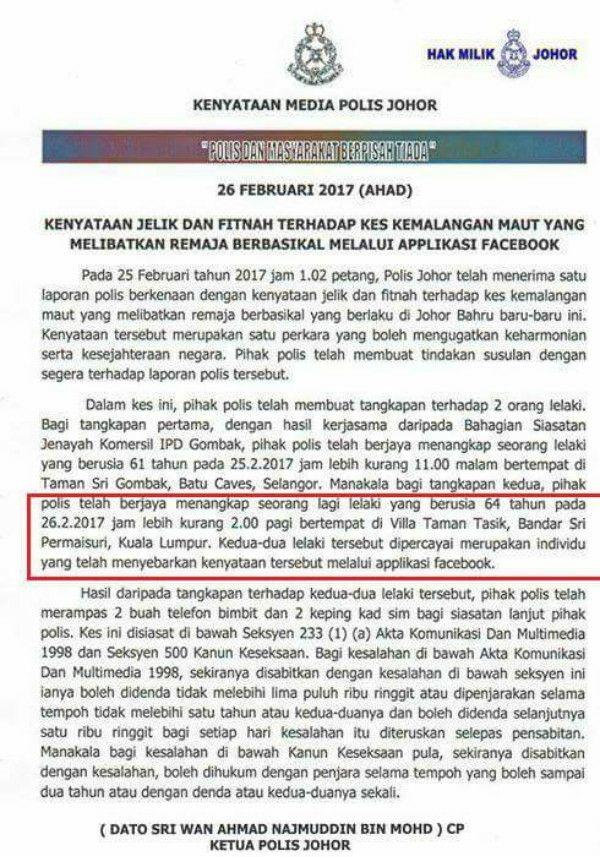 Kenyataan Fitnah, 2 Lelaki Bergelar Datuk Ditahan Polis