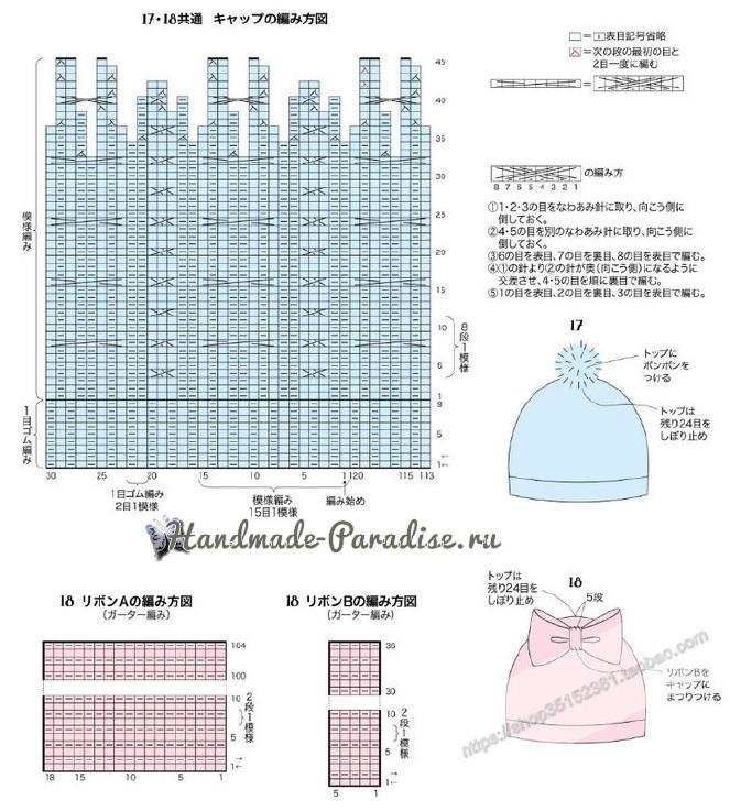 Схемы вязания спицами детской теплой шапки (2)