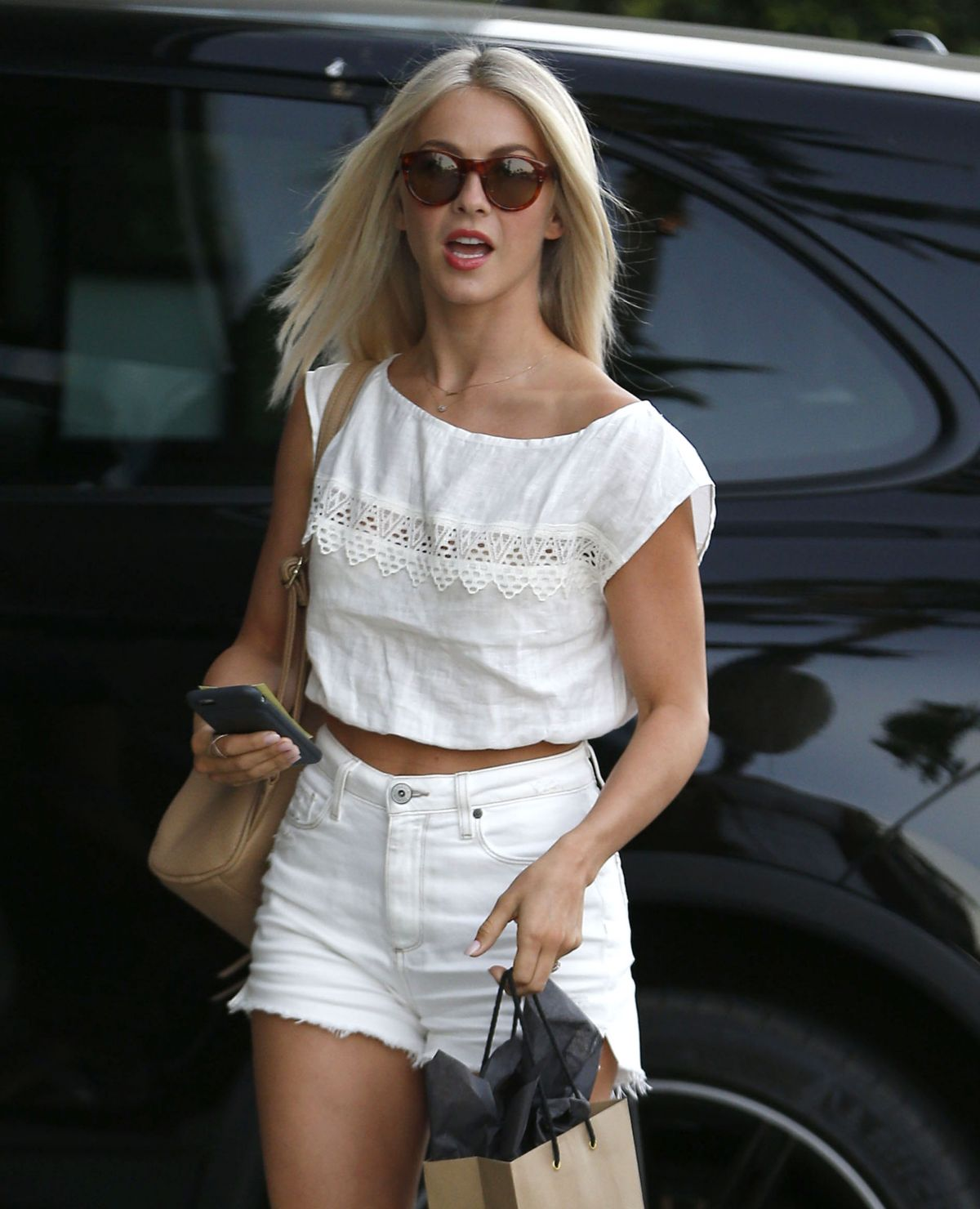 Photos of Julianne Hough in mini white dress Leaves A Hair Salon In Los Angeles
