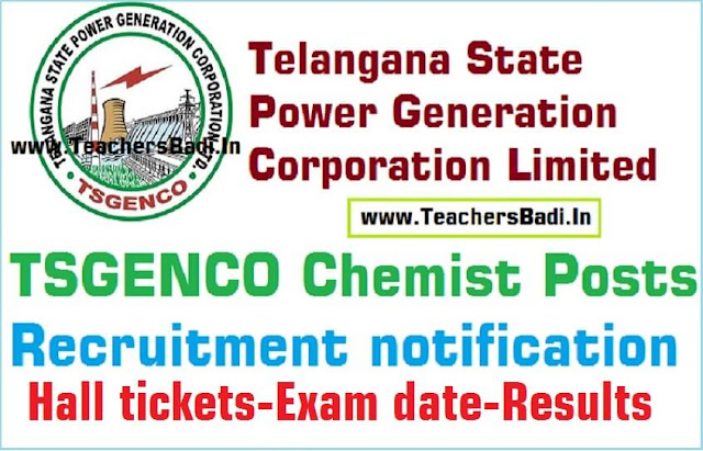 TSGENCO Chemist Posts,Hall tickets,Written Exam,Results