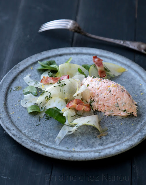 saumon , mascarpone , fenouil , pommes, coriandre