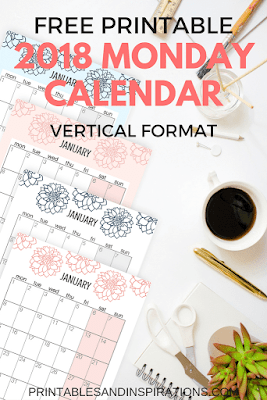 2018 monday start calendar
