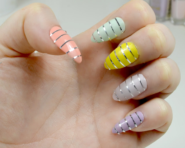 Easter Nails - Nail Art - Nail designs - False nails - at home - nails of the day - nails of the week - pastel - nail tape
