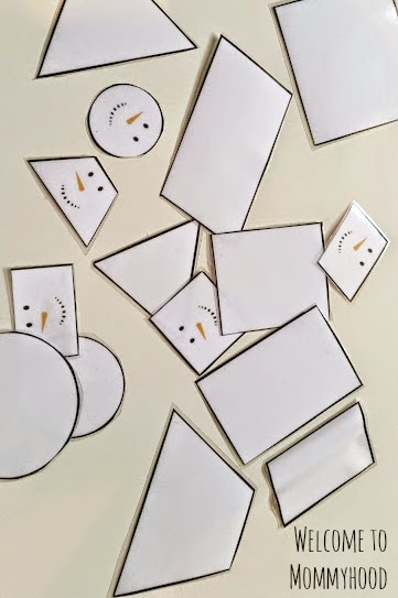Winter Activities for Kids Free Snowman shape printables {Welcome to Mommyhood} #winteractivitiesforkids, #montessori, #freeprintables, #toddleractivities
