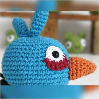 patron amigurumi Blue angry bird lanas y ovillos
