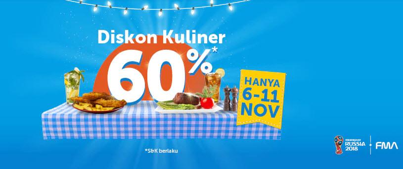 Traveloka - Promo Voucher Diskon Kuliner s.d 60% (s.d 11 Nov 2018)