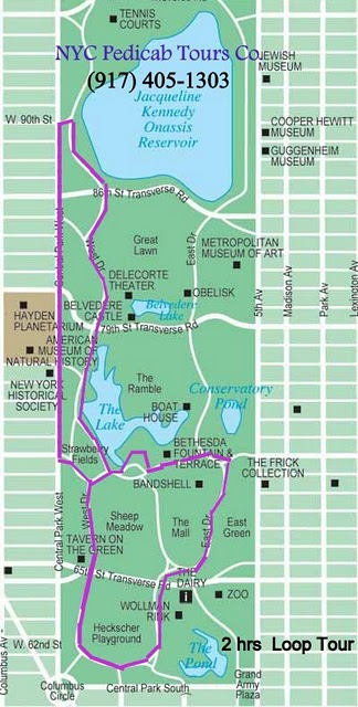 Central Park Pedicab Rickshaw Tours, 2 Hrs-Map - Farehorbor's Best Tours