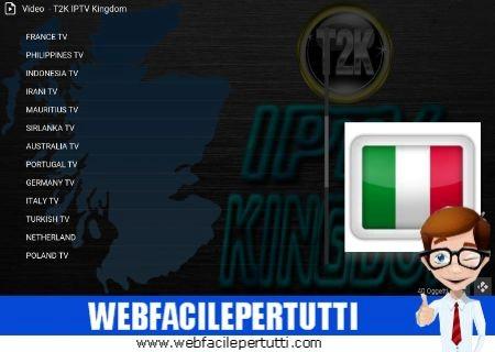 T2K IPTV Kingdom KODI - Canali TV Gratis da Tutto il Mondo su Kodi