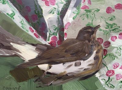 Thrush on a cherry cloth, still life oil on panel 15x20cm by Philine van der Vegte