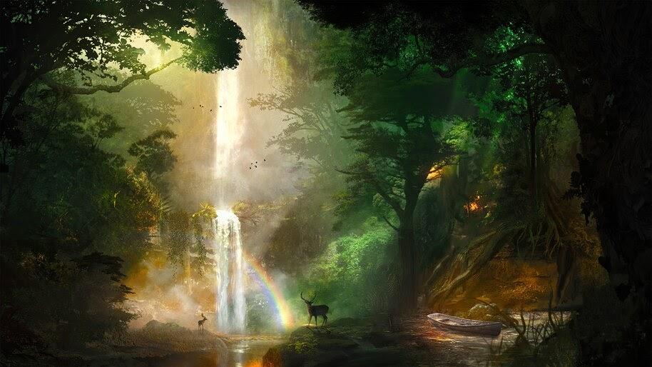 Jungle, Forest, Falls, Deer, Nature, Scenery, 4K, #6.942