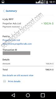 Bukti pembayaran Propellerads terbaru melalui paypal