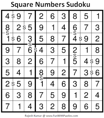 Square Numbers Sudoku (Daily Sudoku League #198) Puzzle Solution