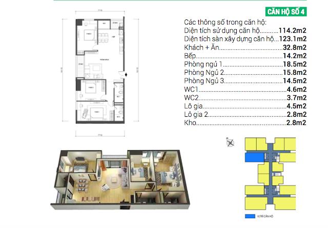 Thiết kế căn hộ 04 chung cư Housinco Grand Tower