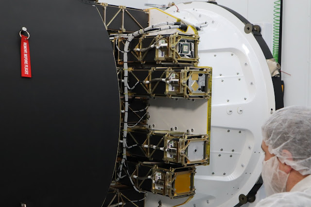 Image Attribute: All CubeSats being installed on the kick stage payload plate inside Electron's fairing & getting ready for final lift-off / Source: RocketLab's Twitter Handle