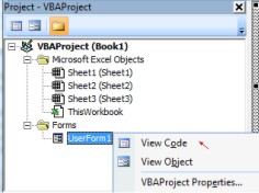 Klik kanan objek VBA