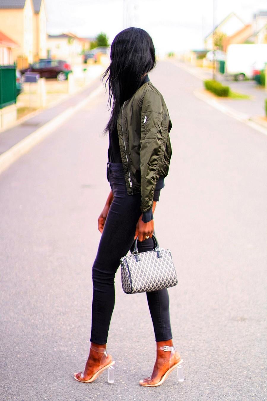 ootd-kaki-bomber-black-bodysuit-high-waist-jeans-perspex-heels-ikon-lancaster-bag