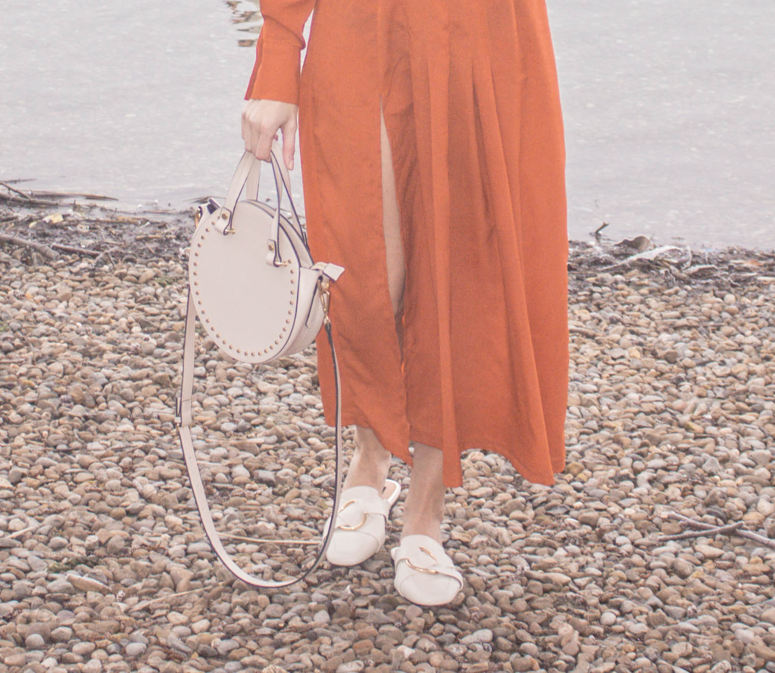 Cream Flat Backless Loafers