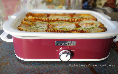 Slow cooker cheesy lasagna with ground turkey- gluten-free.