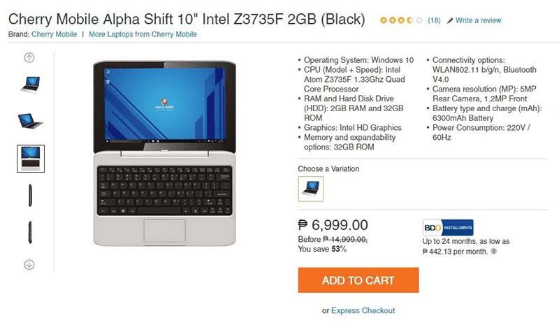 Cherry Mobile Alpha Shift 6,999 Pesos sale